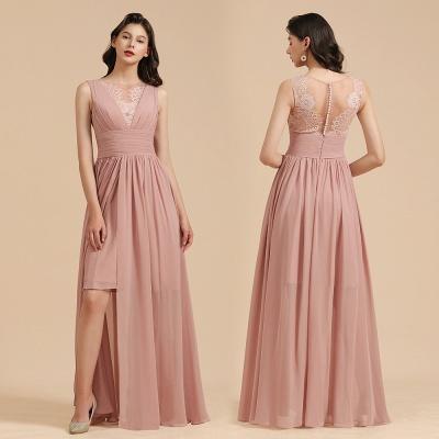 Elegant Sleevele Dusty Pink Chiffon Bridesmaid Dresses_11