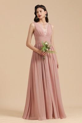 Elegant Sleevele Dusty Pink Chiffon Bridesmaid Dresses_4