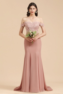 Off Shoulder Floral Lace Appliques Mermaid Bridesmaid Dress_1
