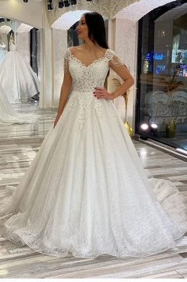 A line off the shoulder lace wedding dresses sleeveless_1