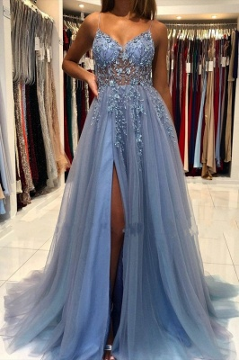 Elegant Spaghetti Straps Royal Blue Prom Dress With Lace Appliques_1