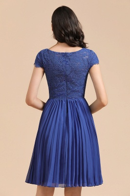 Royal Blue Short Sleeves Knee Length Mini Bridesmaid Dresses_3