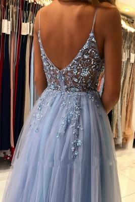 Elegant Spaghetti Straps Royal Blue Prom Dress With Lace Appliques_3