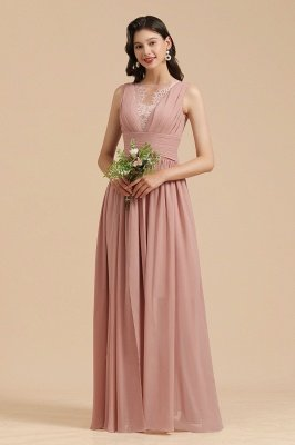 Elegant Sleevele Dusty Pink Chiffon Bridesmaid Dresses