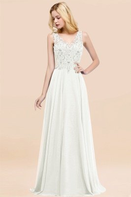 Straps V Neck  Applique Crystal Sequin Floor Length A Line Prom Dresses_2