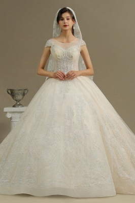 A Line Cap Sleeve Tulle Lace Wedding Dress Appliques Cathedral Garden Bridal Gowns