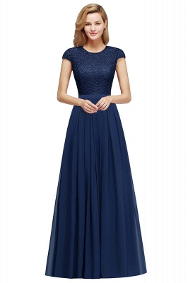 Cheap A-line Jewel Short Sleeves Chiffon Lace Bridesmaid Dress in Stock_6