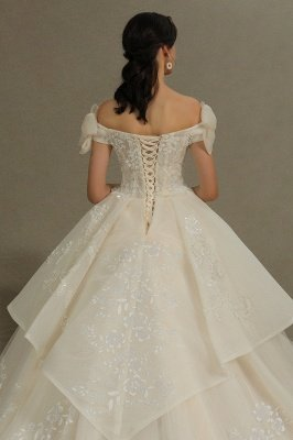 Elegant Off-the-Shoulder Tulle Lace Bridal Gown Ball Gown Floor Length Wedding Dress_8