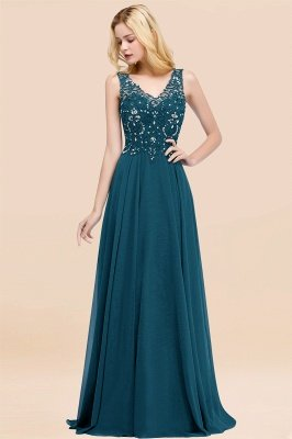 Straps V Neck  Applique Crystal Sequin Floor Length A Line Prom Dresses_27