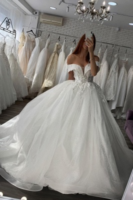 Gorgeous Off Shoulder Floral Lace White Bridal Gowns