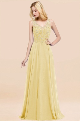 Straps V Neck  Applique Crystal Sequin Floor Length A Line Prom Dresses_18