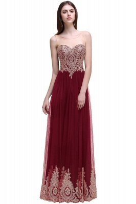 Black Tulle Long A-line Prom Dress with Appliques In Stock_2