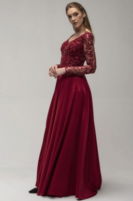 Wine red evening dresses long Prom dresses with sleeves_3