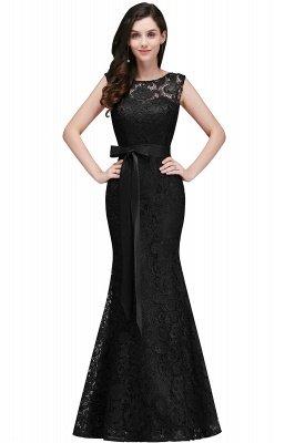 Ribbon Sash Floor-length Sleeveless Lace Mermaid Evening Dress_5