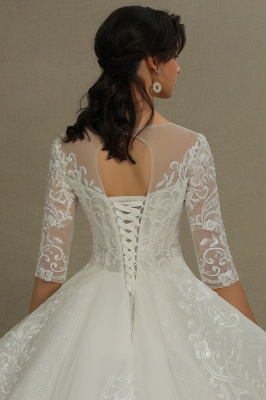 Luxury Long Sleeves Lace Bridal Gowns Floral Crew Neck A Line Spring Garden Dress_7