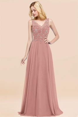 Straps V Neck  Applique Crystal Sequin Floor Length A Line Prom Dresses_49