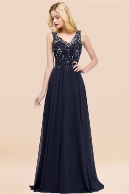 Straps V Neck  Applique Crystal Sequin Floor Length A Line Prom Dresses_28