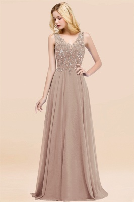 Straps V Neck  Applique Crystal Sequin Floor Length A Line Prom Dresses_16