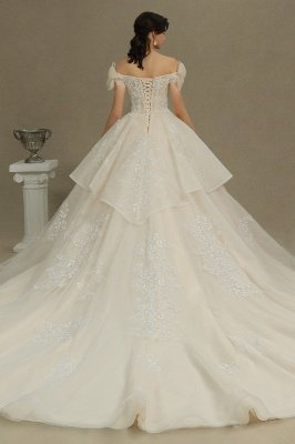 Elegant Off-the-Shoulder Tulle Lace Bridal Gown Ball Gown Floor Length Wedding Dress_6