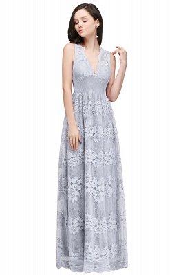 CHAYA | Sheath V-neck Floor-length Navy Blue Lace Prom Dress_4