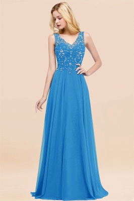 Straps V Neck  Applique Crystal Sequin Floor Length A Line Prom Dresses_25