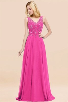 Straps V Neck  Applique Crystal Sequin Floor Length A Line Prom Dresses_9