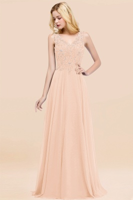 Straps V Neck  Applique Crystal Sequin Floor Length A Line Prom Dresses_5