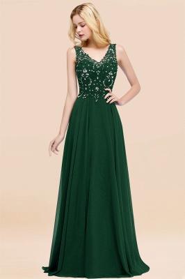 Straps V Neck  Applique Crystal Sequin Floor Length A Line Prom Dresses_31