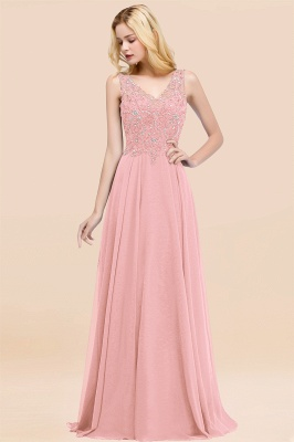 Straps V Neck  Applique Crystal Sequin Floor Length A Line Prom Dresses_4