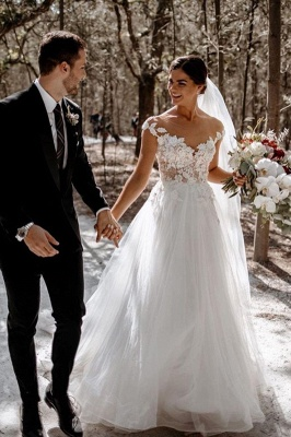 Floor Length White Cap Sleeve Tulle Lace Wedding Dresses