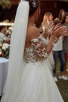 A Line Long Sleeve Lace Tulle Casual Wedding Dresses_4