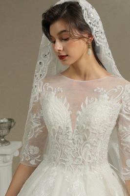 Luxury Long Sleeves Lace Bridal Gowns Floral Crew Neck A Line Spring Garden Dress_8