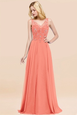Straps V Neck  Applique Crystal Sequin Floor Length A Line Prom Dresses_44