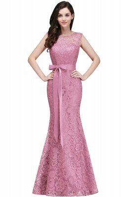 Ribbon Sash Floor-length Sleeveless Lace Mermaid Evening Dress_1