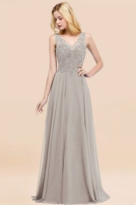 Straps V Neck  Applique Crystal Sequin Floor Length A Line Prom Dresses_30