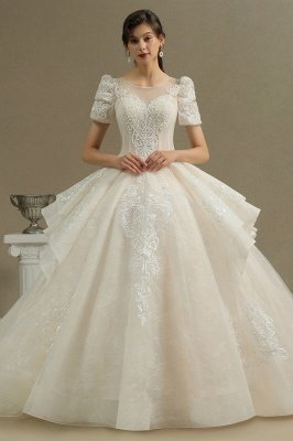 Charming Short Sleeve Sweetheart Wedding Dresses Garden Bridal Gowns Sweep Train