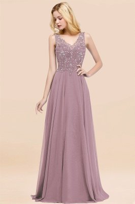 Straps V Neck  Applique Crystal Sequin Floor Length A Line Prom Dresses_42