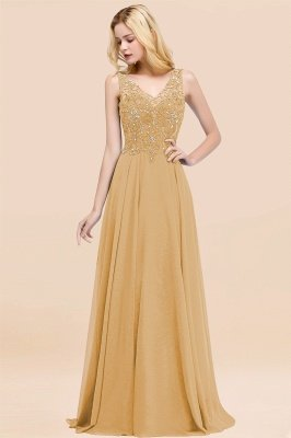 Straps V Neck  Applique Crystal Sequin Floor Length A Line Prom Dresses_13