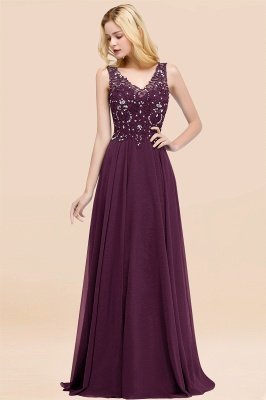 Straps V Neck  Applique Crystal Sequin Floor Length A Line Prom Dresses_20