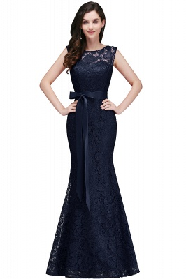 Ribbon Sash Floor-length Sleeveless Lace Mermaid Evening Dress_4