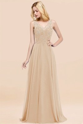 Straps V Neck  Applique Crystal Sequin Floor Length A Line Prom Dresses_14