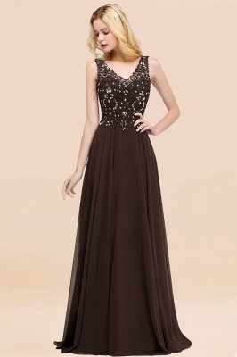 Straps V Neck  Applique Crystal Sequin Floor Length A Line Prom Dresses_11