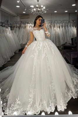 Long Sleeves Lace Appliques Tulle White Wedding Gowns