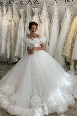 White Off the Shoulder Puffy Tulle Lace Ball Gown Wedding Dresses_3