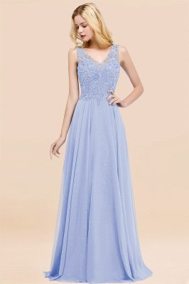Straps V Neck  Applique Crystal Sequin Floor Length A Line Prom Dresses_22