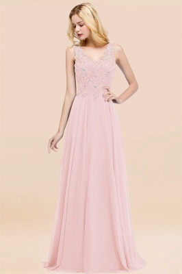 Straps V Neck  Applique Crystal Sequin Floor Length A Line Prom Dresses_3