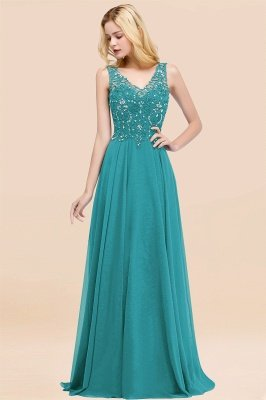 Straps V Neck  Applique Crystal Sequin Floor Length A Line Prom Dresses_31