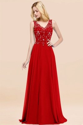 Straps V Neck  Applique Crystal Sequin Floor Length A Line Prom Dresses_8