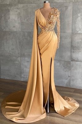 Gold Long Glitter Prom Dresses mermaid Evening dresses with sleeves_1
