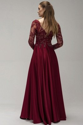 Wine red evening dresses long Prom dresses with sleeves_2